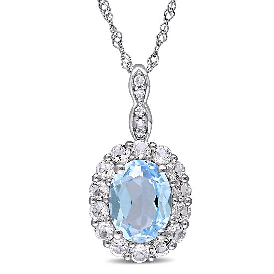 Womens Diamond Accent Genuine Blue Topaz 14K Gold Pendant Necklace