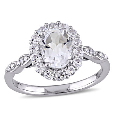 Womens Diamond Accent White Topaz 14K Gold Cocktail Ring