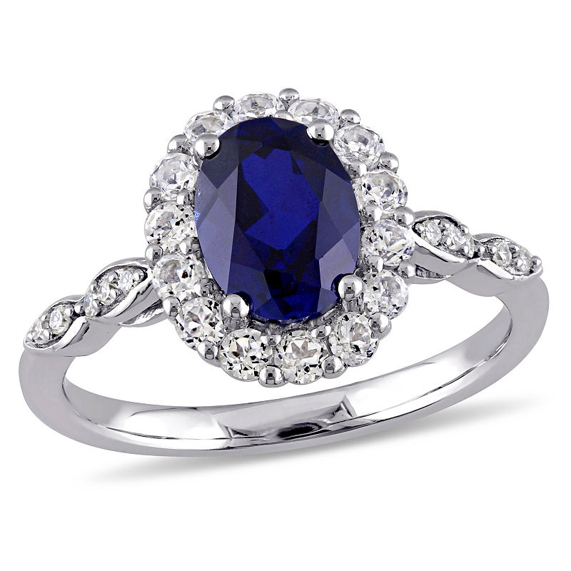 image of Womens Diamond Accent Lab Created Blue Sapphire 14K Gold Cocktail Ring-ppr5007138581
