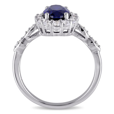 Womens Diamond Accent Lab Created Blue Sapphire 14K Gold Cocktail Ring