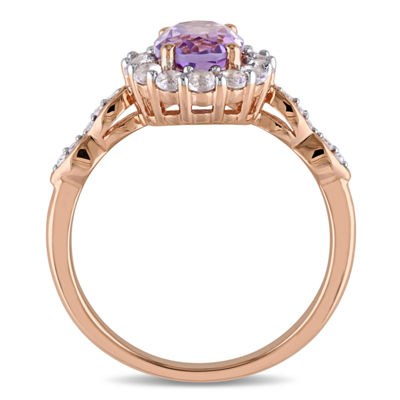 Womens Diamond Accent Genuine Purple Amethyst 14K Gold Cocktail Ring