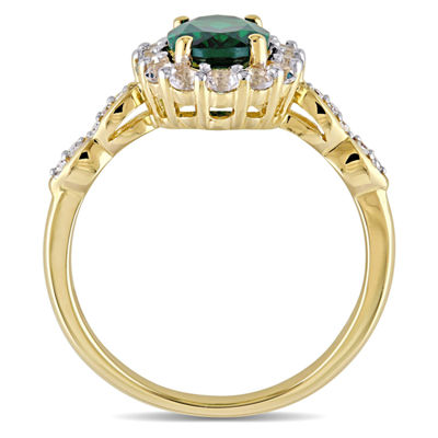Womens Diamond Accent Lab Created Emerald 14K Gold Cocktail Ring