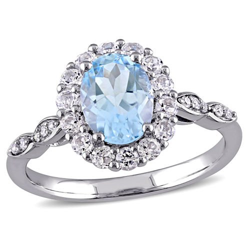 Womens Diamond Accent Genuine Blue Topaz 14K Gold Cocktail Ring