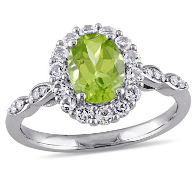 Womens Diamond Accent Genuine Green Peridot 14K Gold Cocktail Ring