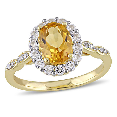 Womens Diamond Accent Genuine Yellow Citrine 14K Gold Cocktail Ring