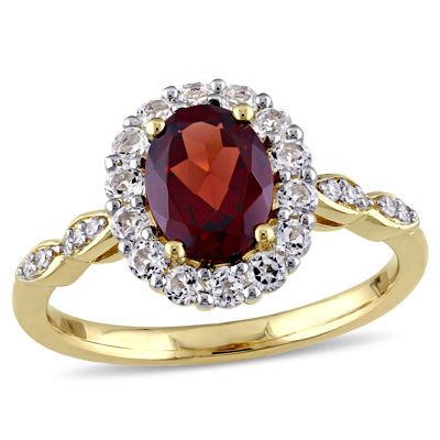 Womens Diamond Accent Genuine Red Garnet 14K Gold Cocktail Ring