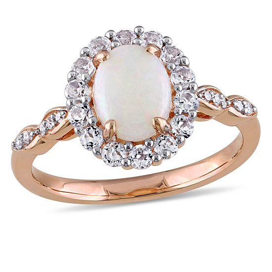 Womens Diamond Accent Genuine Pink Opal 14K Gold Cocktail Ring