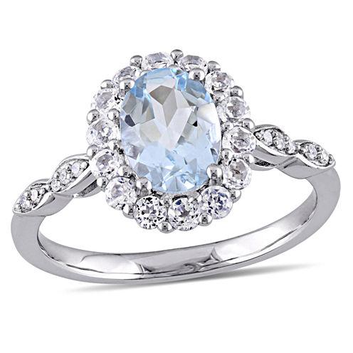 Womens Diamond Accent Genuine Blue Aquamarine 14K Gold Cocktail Ring