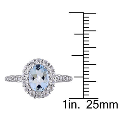 Womens Diamond Accent Blue Aquamarine 14K Gold Cocktail Ring