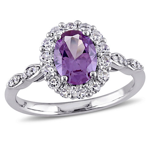 Womens Diamond Accent Lab Created Purple Alexandrite 14K Gold Cocktail Ring