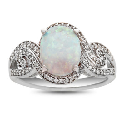Womens Lab Created Multi Color Opal Sterling Silver Cocktail Ring