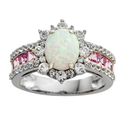Lab-Created Opal and Pink & White Lab-Created Sapphire Sterling Silver Cocktail Ring