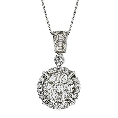 Womens 1 1/4 CT. T.W. White Diamond 14K Gold Pendant Necklace