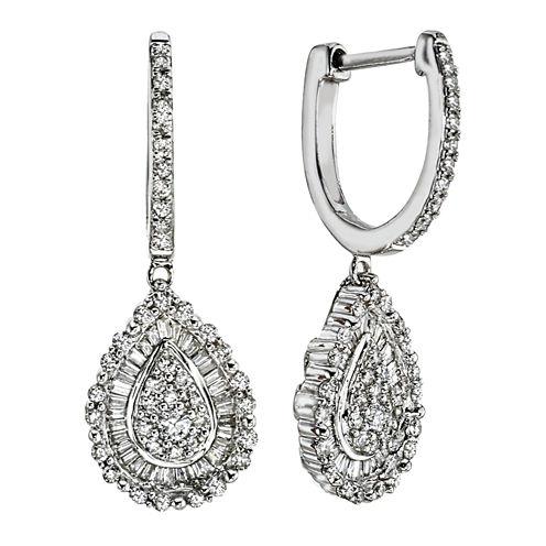 1 CT. T.W. Diamond 14K White Gold Pear-Shaped Earrings