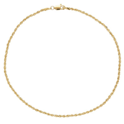 "10K Yellow Gold 10"" Glitter Rope Chain Ankle Bracelet"