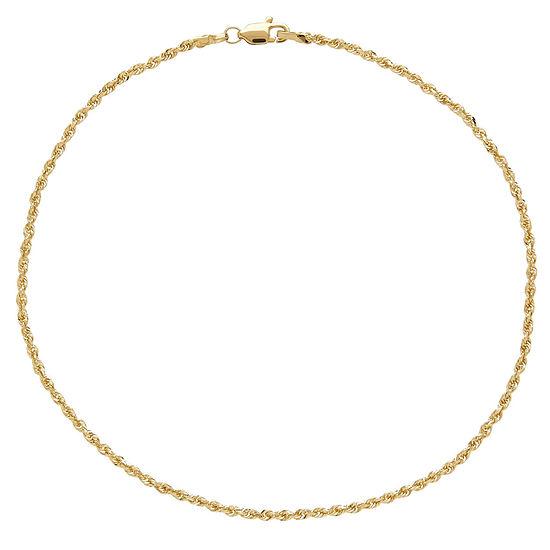 "10K Yellow Gold 10"" Glitter Rope Chain Ankle Bracelet"