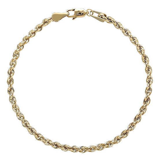 Womens 7 5 Inch 10k Gold Rope Chain Bracelet