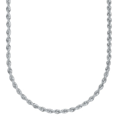 10K White Gold 2.9mm Rope Chain Necklace