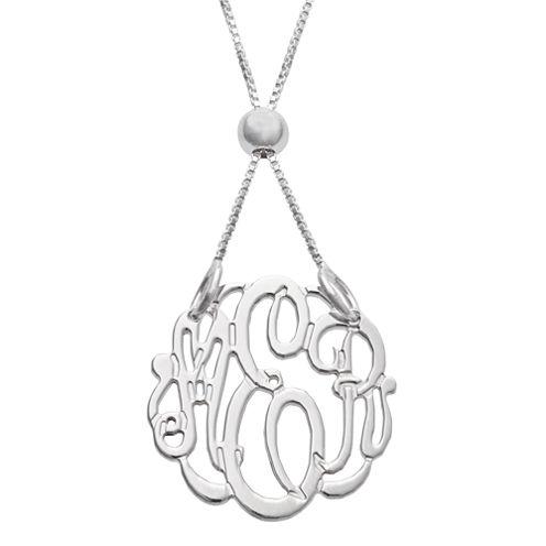 Personalized Silver Petite Adjustable Monogram Pendant Necklace