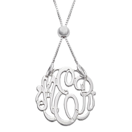 Personalized Silver Petite Adjustable Monogram Pendant Necklace