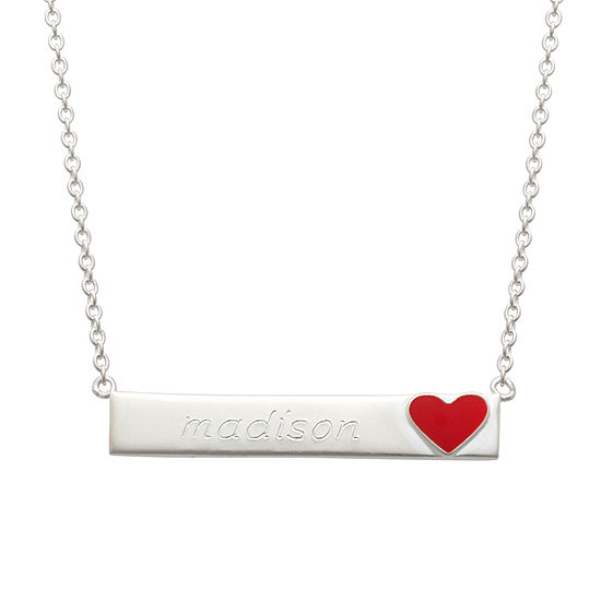 Personalized Sterling Silver Heart Emoji Name Necklace
