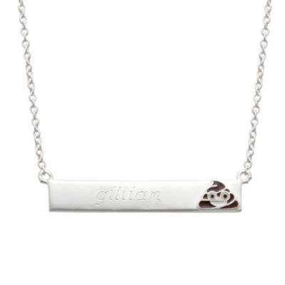 Personalized Sterling Silver Poo Emoji Name Necklace
