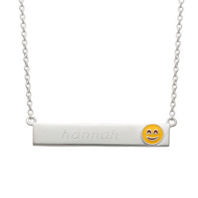 Personalized Sterling Silver Smiling Emoji Name Necklace