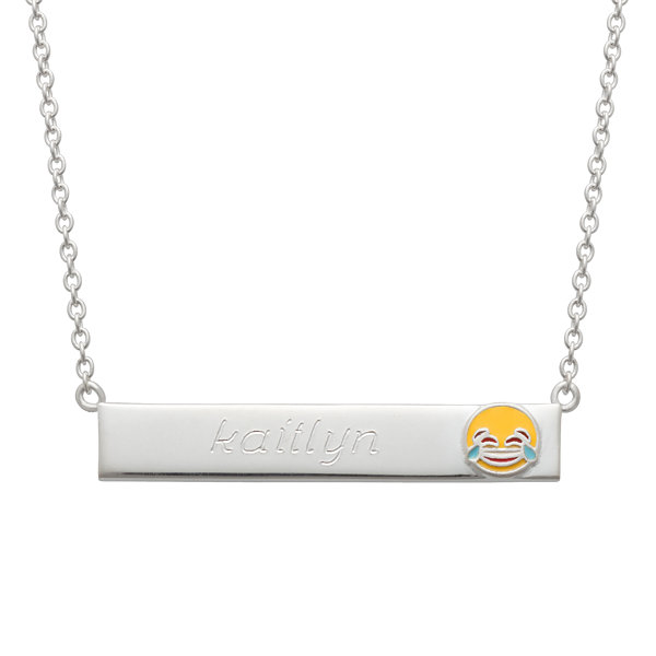 Personalized Sterling Silver Laughing Emoji Name Necklace