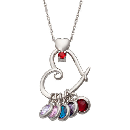 Personalized Silver Cubic Zirconia Birthstone Heart Pendant Necklace