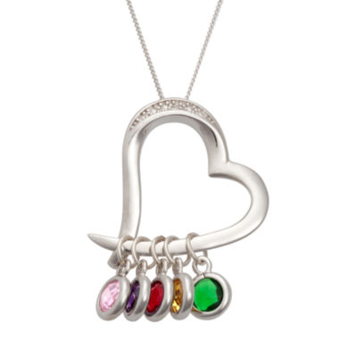 Personalized Simulated Birthstone & Diamond Accent Sterling Silver Heart Pendant Necklace