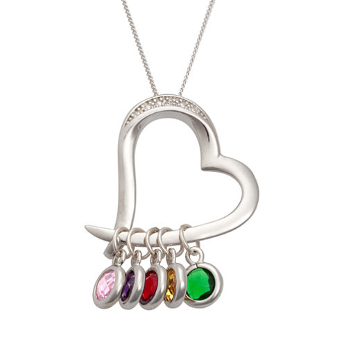 Personalized Sterling Silver Birthstone Diamond Accent Heart Pendant Necklace