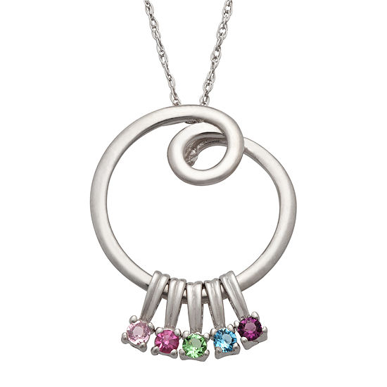 Personalized Silver Cubic Zirconia Birthstone Swirl Pendant Necklace