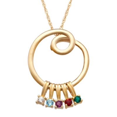 Personalized Silver Cubic Zirconia Birthstone Swirl Pendant Necklace