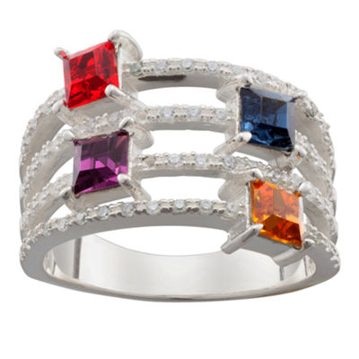Personalized Sterling Silver Cubic Zirconia & Crystal Square Ring