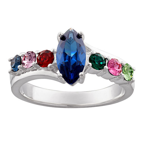Personalized Sterling Silver Simulated Birthstone Ring