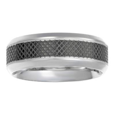 Mens 8mm White Diamond Stainless Steel Band