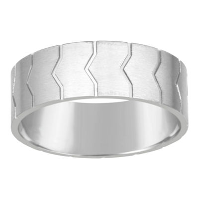 Mens 8mm White Diamond Stainless Steel Band