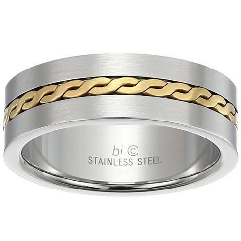 Mens White Diamond Stainless Steel Band