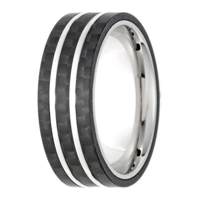 Mens White Diamond Stainless Steel Band