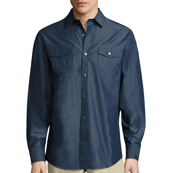 Claiborne Long Sleeve Button-Front Shirt