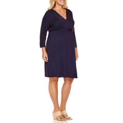 Planet Motherhood 3/4 Sleeve Empire Waist Dress-Plus Maternity