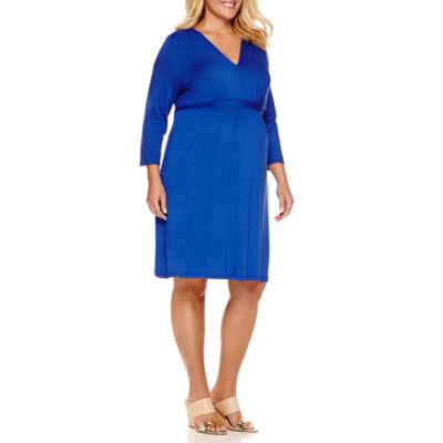 Planet Motherhood 3/4 Sleeve Empire Waist Dress - Plus Maternity