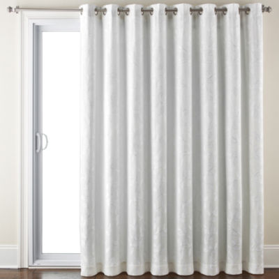 Liz Claiborne Quinn Leaf Energy Saving Light-Filtering Grommet-Top Single Patio Door Curtain