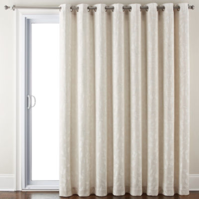 Liz Claiborne Quinn Leaf Energy Saving Light-Filtering Grommet-Top Single Patio Door Curtain