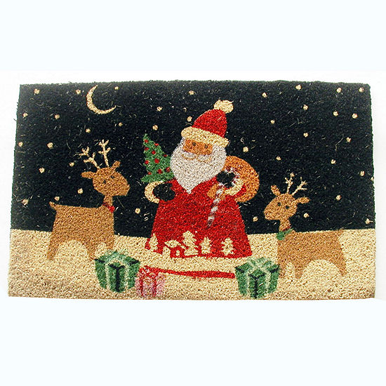 "Santa's Reindeer Rectangle Doormat - 18""X30"""