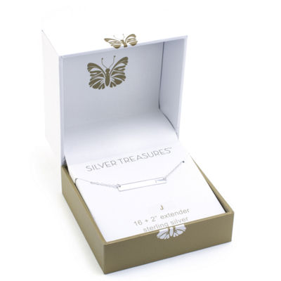 Silver Treasures Letter J Womens Pendant Necklace
