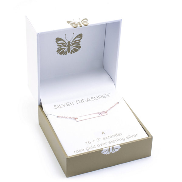 SILVER TREASURES Silver Treasures Letter A Womens Pendant Necklace