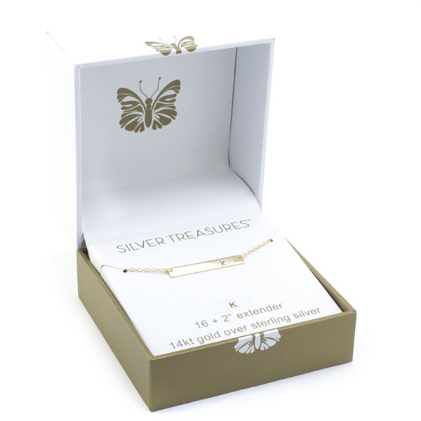 Silver Treasures Letter A Womens Gold Over Silver Pendant Necklace