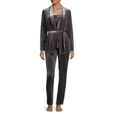 Ambrielle Stretch Velvet 3-pc. Pant Pajama Set