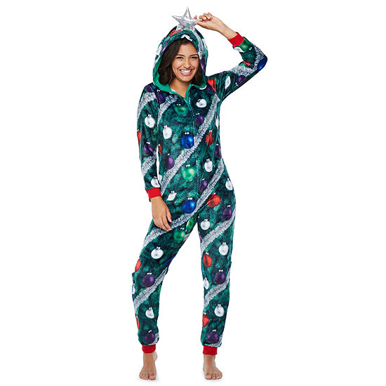 Peace Love And Dreams Womens Juniors Onesie Pajama Long Sleeve Hooded Neck